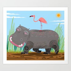 The Hippo and The Flamingo Art Print