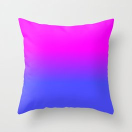 Neon Blue and Hot Pink Ombré Shade Color Fade Throw Pillow