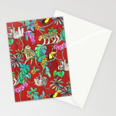 Rainforest Friends - watercolor animals on textured red Stationery Cards