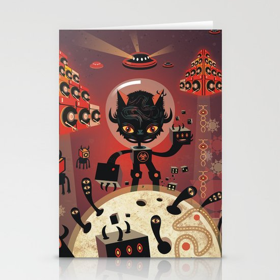 DJ Hammerhand cat - party at ogm garden Stationery Cards