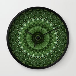 Mandala in olive green tones Wall Clock