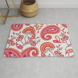 Paisley Pattern (ice blue and orange) Rug