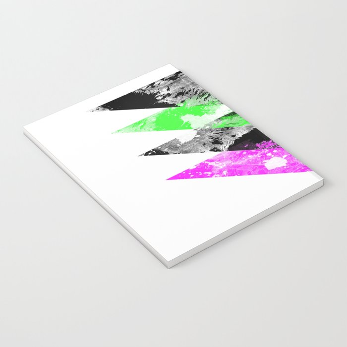 Descent - Geometric Abstract In Black, Green And Pink Notebook