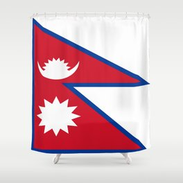 flag of nepal-nepal,buddhism,Nepali, Nepalese,india,asia,Kathmandu,Pokhara,tibet Shower Curtain