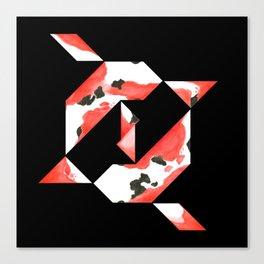 Tangram Koi - Black background Canvas Print