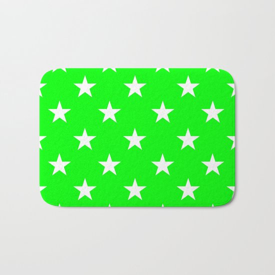 Stars (White/Green) Bath Mat
