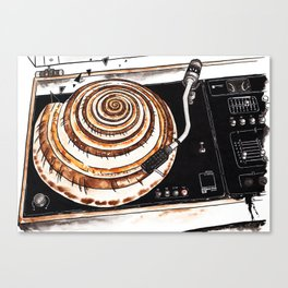 Vinyl record player with seashell Canvas Print