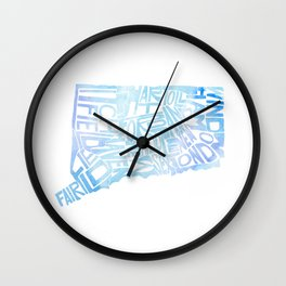 Typographic Connecticut - blue watercolor map Wall Clock