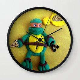 Orange mask turtle Wall Clock