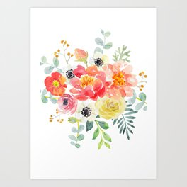 Watercolor bouquets with pink flowers Art Print