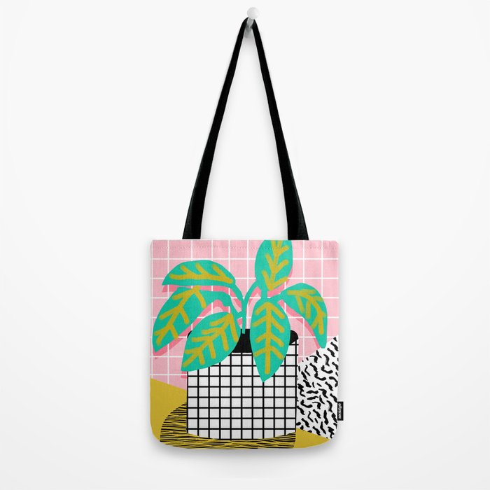 Get Real - potted plant throwback retro neon 1980s style art print minimal abstract grid lines shape Tote Bag