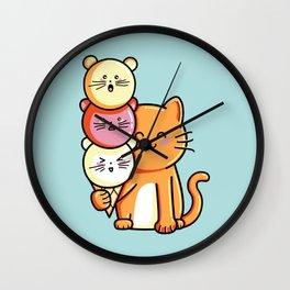 Kawaii Cute Cat and Micecream Wall Clock