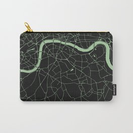 London Black on Green Street Map Carry-All Pouch