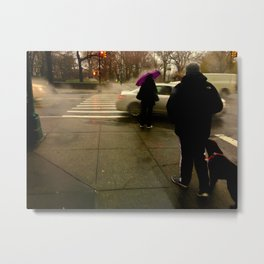 Rainy City Corner Metal Print
