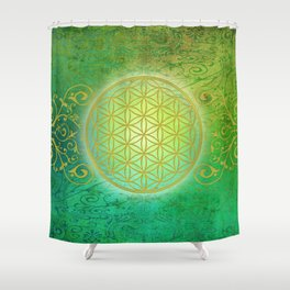 Flower Of Life Vintage gold green Shower Curtain