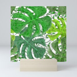 PALM LEAF B0UNTY GREEN AND WHITE Mini Art Print