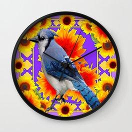 YELLOW SUNFLOWERS & BLUE JAY PURPLE ART Wall Clock