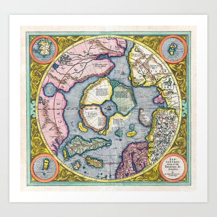 Vintage Map Of The Arctic 1606 Art Print By Fineearthprints Society6