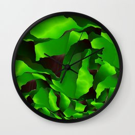 Green frayed abstraction Wall Clock