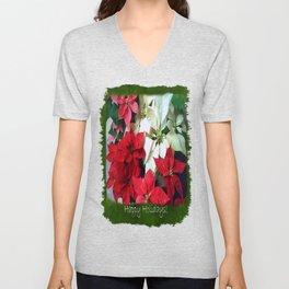 Mixed color Poinsettias 1 Happy Holidays P1F5 Unisex V-Neck
