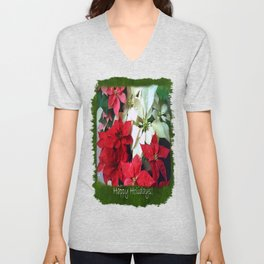 Mixed color Poinsettias 1 Happy Holidays P1F5 Unisex V-Neck