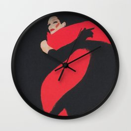 Red Scarf Vintage Fashion Poster Wall Clock