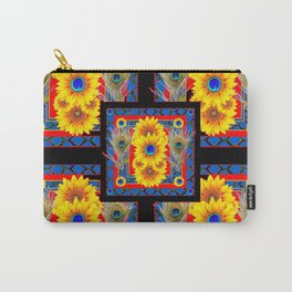 BLUE PEACOCK JEWELED SUNFLOWERS DECO ABSTRACT Carry-All Pouch