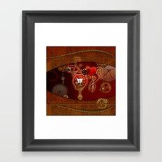Steampunk, heart clocks and gears Framed Art Print