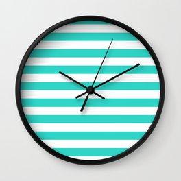 Narrow Horizontal Stripes - White and Turquoise Wall Clock