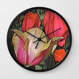 Graphic Tulips  Wall Clock