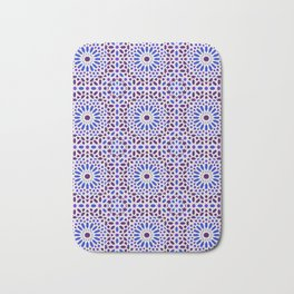 -A16- Traditional Blue Moroccan Tile Pattern. Bath Mat