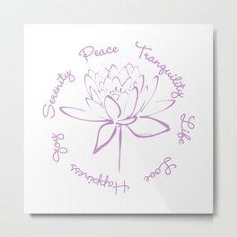 Lotus Calligraphy Text (Purple) Metal Print