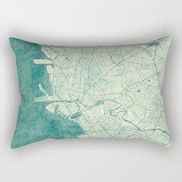 Manila Map Blue Vintage Rectangular Pillow