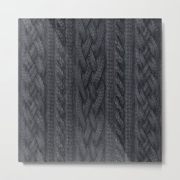 Charcoal Cable Knit Metal Print
