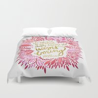 fitzgerald Duvet Covers featuring Zelda Fitzgerald – Pink on White by Cat Coquillette