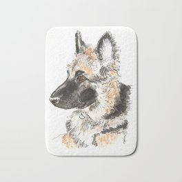 German shepherd puppy painting Bath Mat