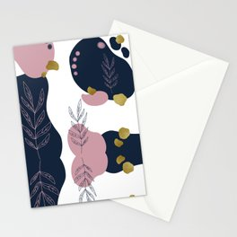 Pastel Pop in Midnight Blue with Metallic Gold Flecks Stationery Cards