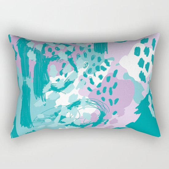 Riley - modern abstract trendy color palette nursery art decor lilac turquoise happy painting Rectangular Pillow