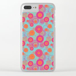 Spinning Wheels - pink & orange on aqua Clear iPhone Case