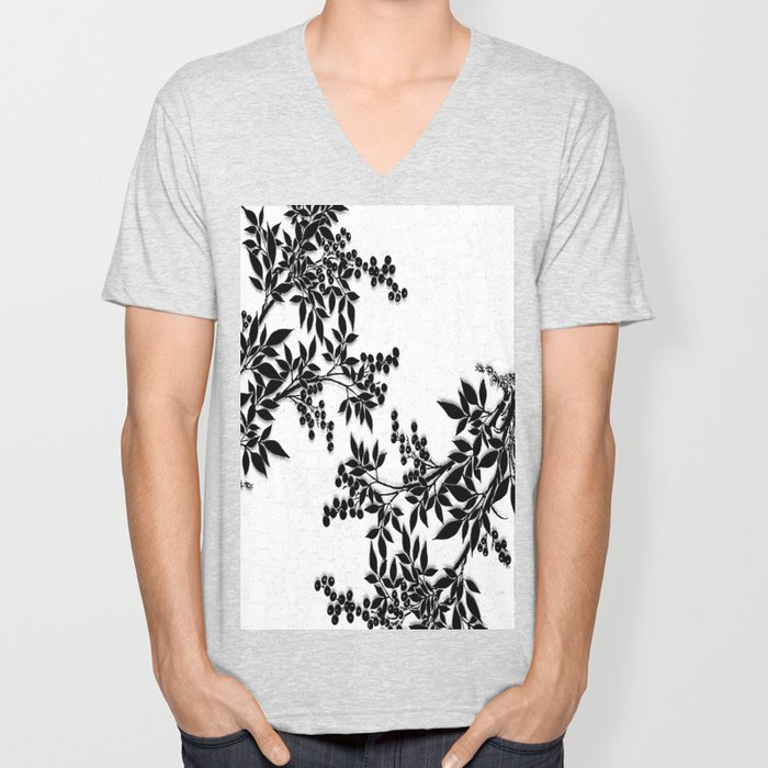 Black and White Leaf Toile Unisex V-Neck