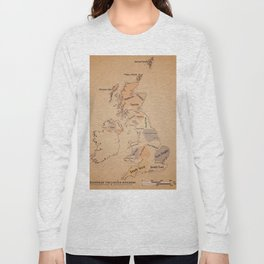 Regions of the United Kingdom vintage map Long Sleeve T-shirt