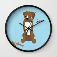 boxer Wall Clocks featuring Boxer by digital-couture