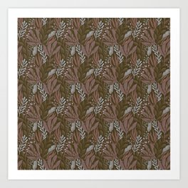 Brown Botanical Pattern Art Print