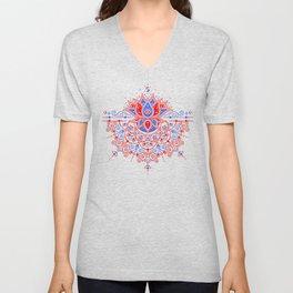 Sacred Lotus Mandala – Red & Blue Palette Unisex V-Neck
