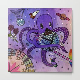 Octopus in Space- Oswald's takeover Metal Print