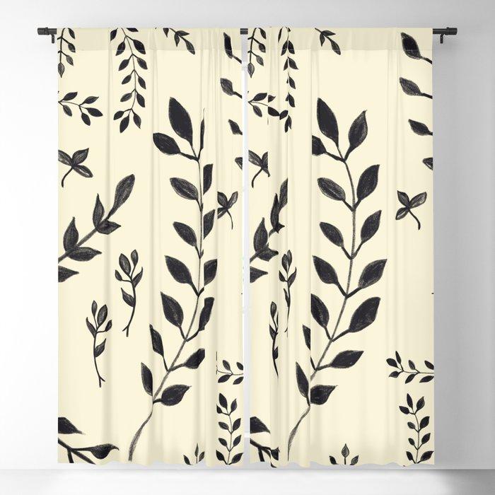 Black Leaves Pattern 2 Drawing Decor Art Society6 Blackout Curtain By Anitabellajantz Society6