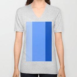 BEACH THEME TRIPLE THICK STRIPES - LIGHT BLUE - NAVY BLUE - BRIGHT BLUE  Unisex V-Neck