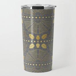 Gold Outline Art Deco Fan Travel Mug