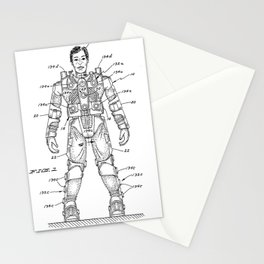 vintage action figure patent schematic Stationery Cards