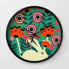 Little bunny in spring Wall Clock